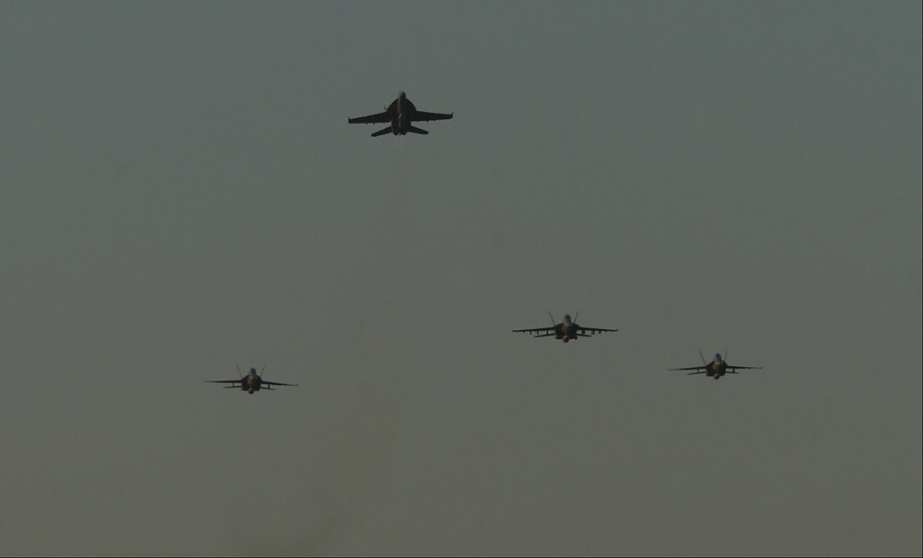 . 6/11/04--Simi Valley--  F-18 from Point Mugu do the missing man formation during funeral services for the 40th President at the Ronald Reagan Library in Simi Valley, Ca, Friday, June 11th, 2004.   (Los Angeles Daily News file photo)