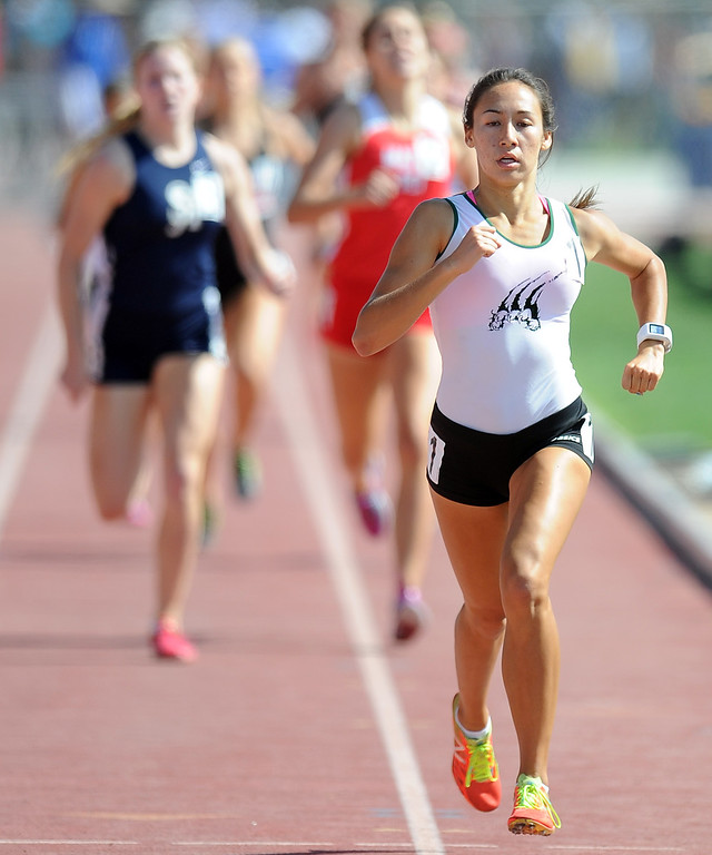 . Bonita\'s Marrisa Scott wins the 800 meters race during the CIF-SS track & Field championship finals in Hilmer Stadium on the campus of Mt. San Antonio College on Saturday, May 18, 2013 in Walnut, Calif.  (Keith Birmingham Pasadena Star-News)