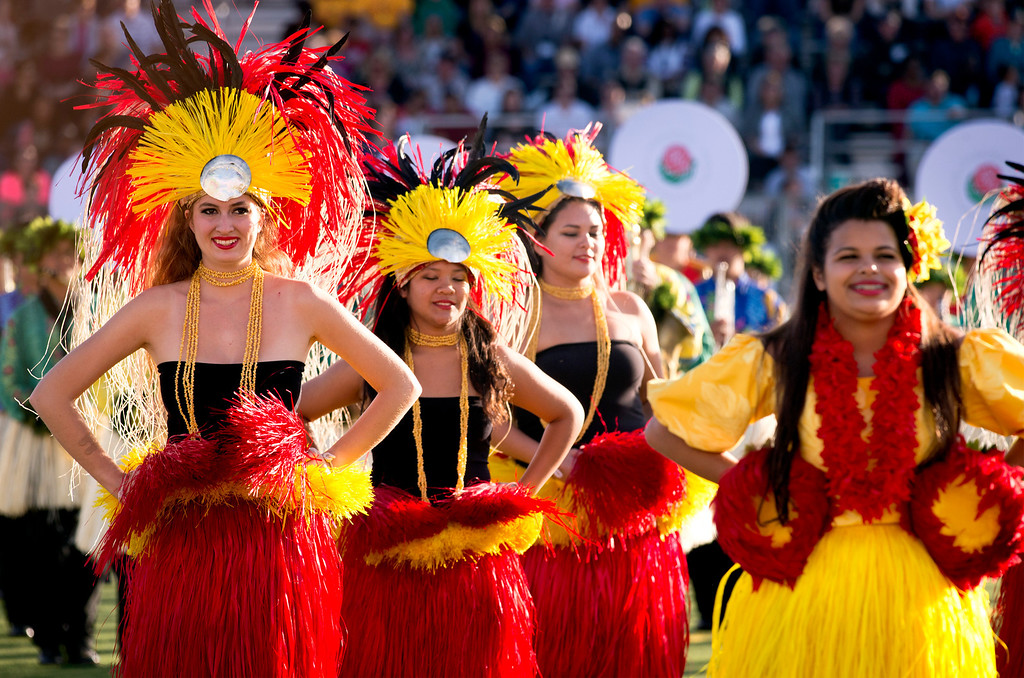 ". The Hawaii All-state Marching Band ""Na Koa Ali\'i\"" performs during the Pasadena Tournament of Roses Bandfest I at Pasadena City College Dec. 29, 2013.   (Staff photo by Leo Jarzomb/Pasadena Star-News)"