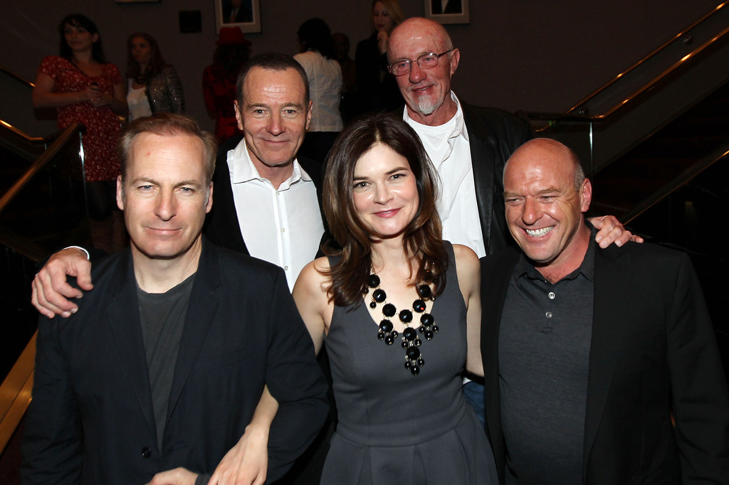 . From left, Bob Odenkirk, Bryan Cranston, Betsy Brandt, Jonathan Banks, and Dean Norris pose together after AMC\'s Breaking Bad ATAS screening and panel at the Academy of Television Arts and Sciences on Saturday, April 13, 2013 in Los Angeles. (Photo by Matt Sayles/Invision for AMC/AP Images)