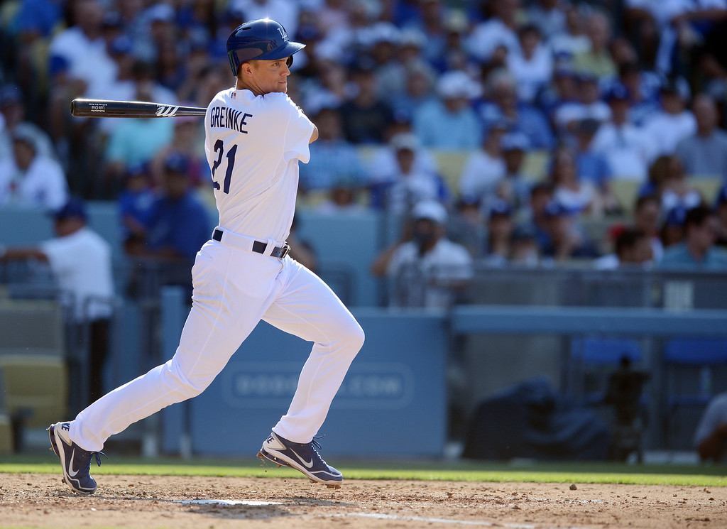 . The Dodgers\' Zack Greinke #21 singles in the 5th during their game against the Rockies at Dodger Stadium in Los Angeles Saturday, July 13, 2013. The Dodgers beat the Rockies 1-0.(Hans Gutknecht/Los Angeles Daily News)