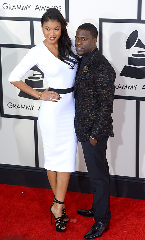 . Eniko Parrish and Kevin Hart arrive at the 56th Annual GRAMMY Awards at Staples Center in Los Angeles, California on Sunday January 26, 2014 (Photo by David Crane / Los Angeles Daily News)