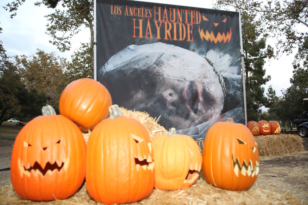 . The 5th Annual Los Angeles Haunted Hayride Premiere Night on October 10, 2013.  The fifth year anniversary of the Los Angeles Haunted Hayride took Hayriders through scenes of actual hauntings.  The month-long event will once again take place in Griffith Park�s Old Zoo area, which has been home to murder, torture, paranormal activity, serial killers, and abduction. (Photos by Boris Issaei for the Los Angeles Daily News)
