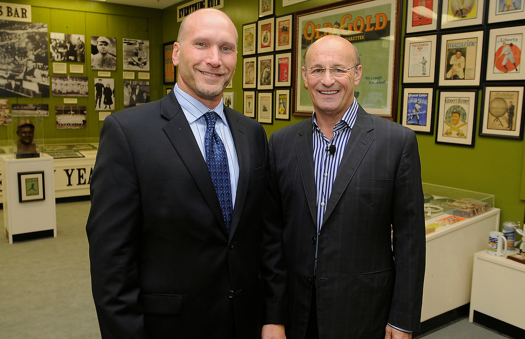 . Ron Hasse, Publisher and President of the Los Angeles News Group, and Dodgers President Stan Kasten. Kasten was invited to discus the state of the franchise, where it�s at, and where it�s heading in a program moderated by Daily News opinion writer and former sports columnist Kevin Modesti. The town hall style event was held at the Sports Museum of Los Angeles in Los Angeles, CA. 7/10/2013(John McCoy/LA Daily News)