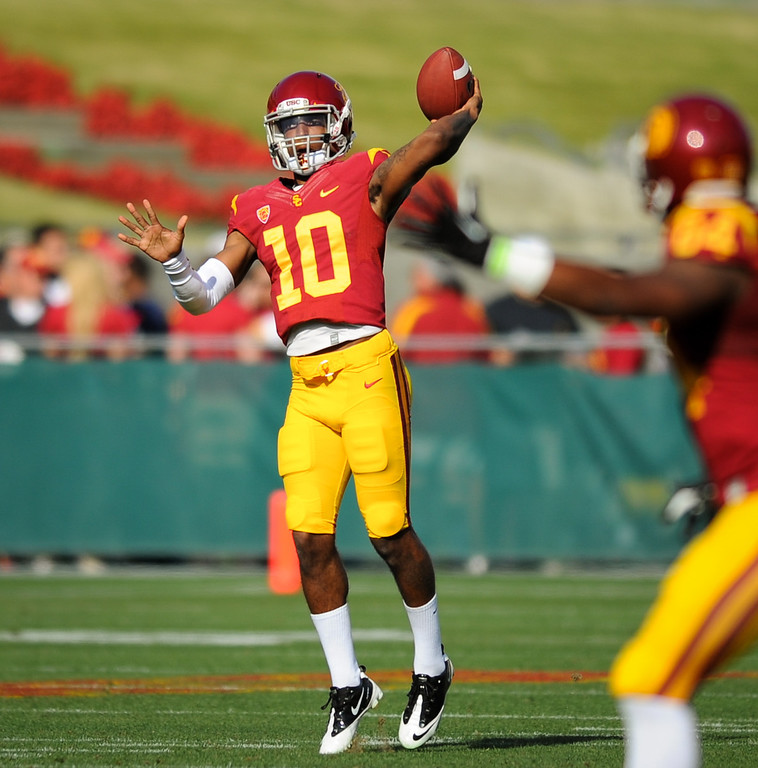 . USC QB Jalen Greene passes downfield at the spring game. (Photo by Michael Owen Baker/L.A. Daily News)