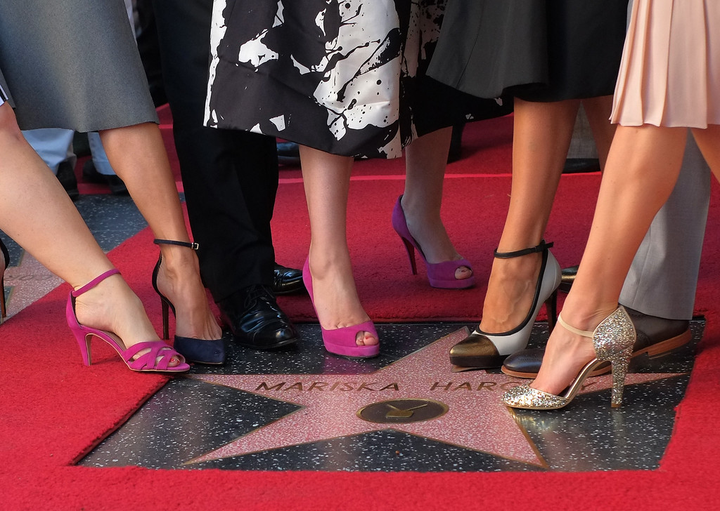 . Mariska Hargitay (2nd R) and other actors pose for a picture during a ceremony where Hargitay is honored with a star on the Hollywood Walk of Fame ,, on November 08, 2013 in Hollywood, California.             (JOE KLAMAR/AFP/Getty Images)