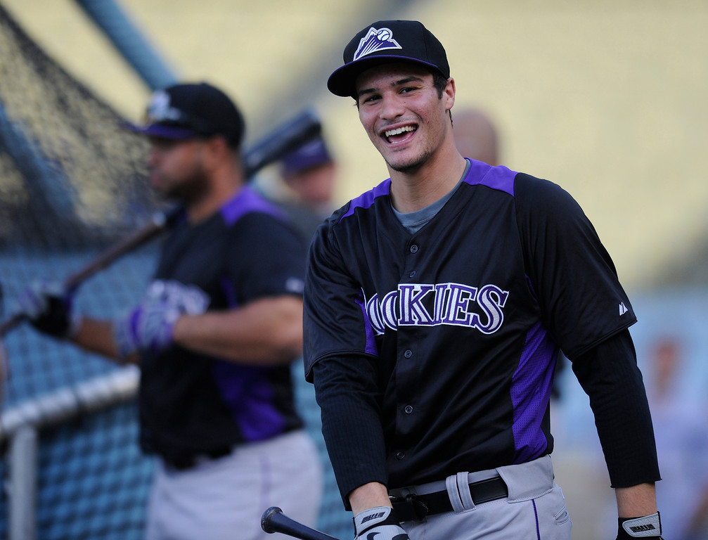 . Nolan James Arenado plays 3rd base for the Colorado Rockies. Photos of him warming up and taking batting practice before a game with the Los Angeles Dodgers. Los Angeles, CA 5/1/2013(John McCoy/Staff Photographer)