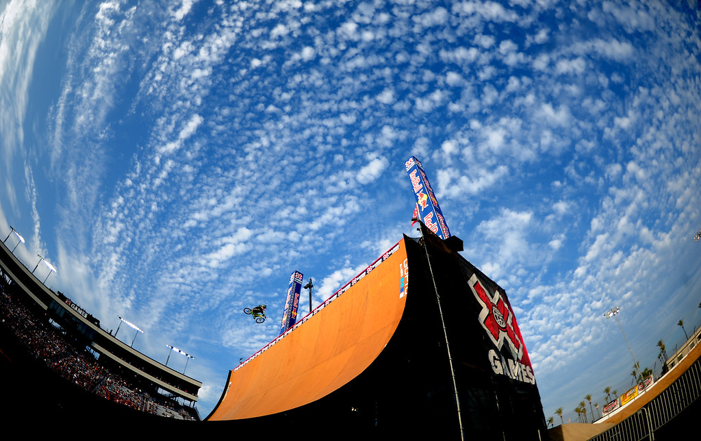 . Andy Buckworth performs during the GoPro BMX Big Air Final at Irwindale Speedway on Friday, Aug. 2, 2013 in Irwindale, Calif. Morgan Wade won the gold medal.