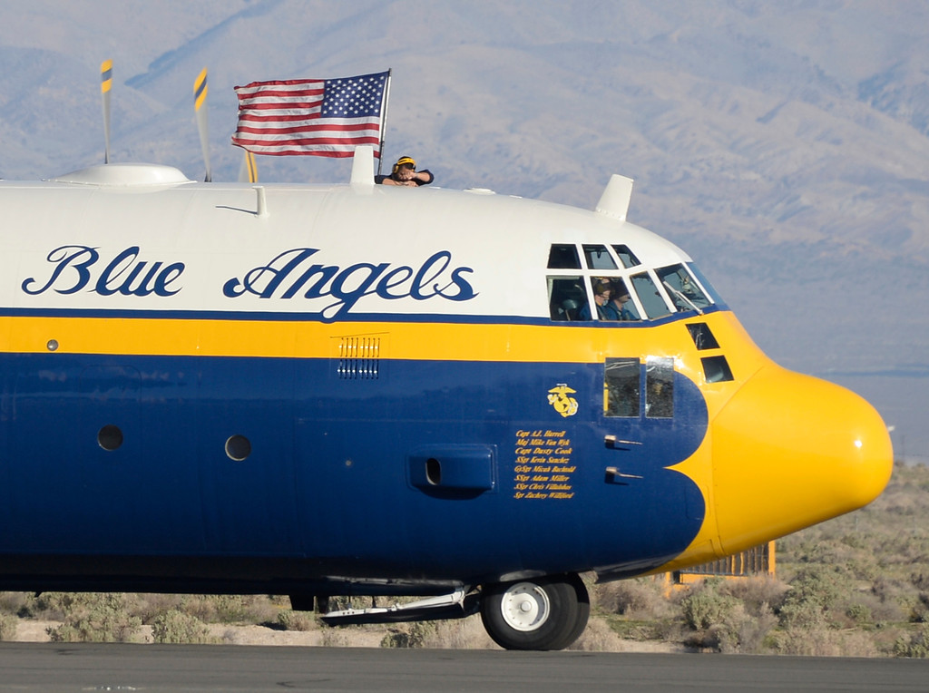 ". March 19,2014. Lancaster CA.  The famous C-130 Blue Angels transport plane known as ""Fat Albert\"" arrives at Fox field Wednesday morning. The Los Angels County air show with the Blue Angels will happen this Friday and Saturday at Fox Field.  Photo by Gene Blevins/LA DailyNews"