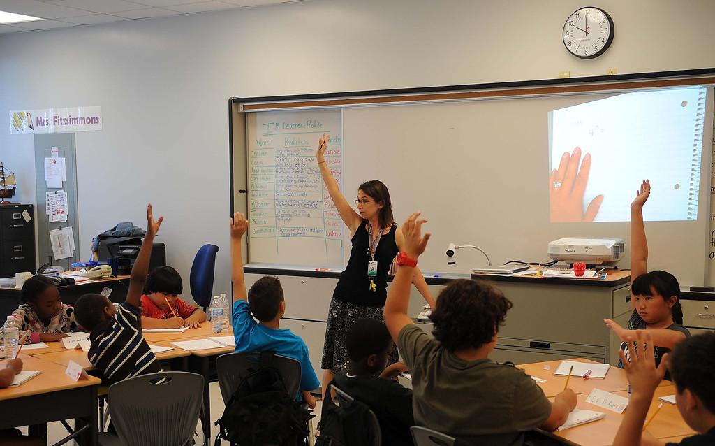 . Mrs. Fitzsimmons Fifth grade class  at new Little Mountain Elementary School in San Bernardino.LaFonzo Carter/ Staff Photographer