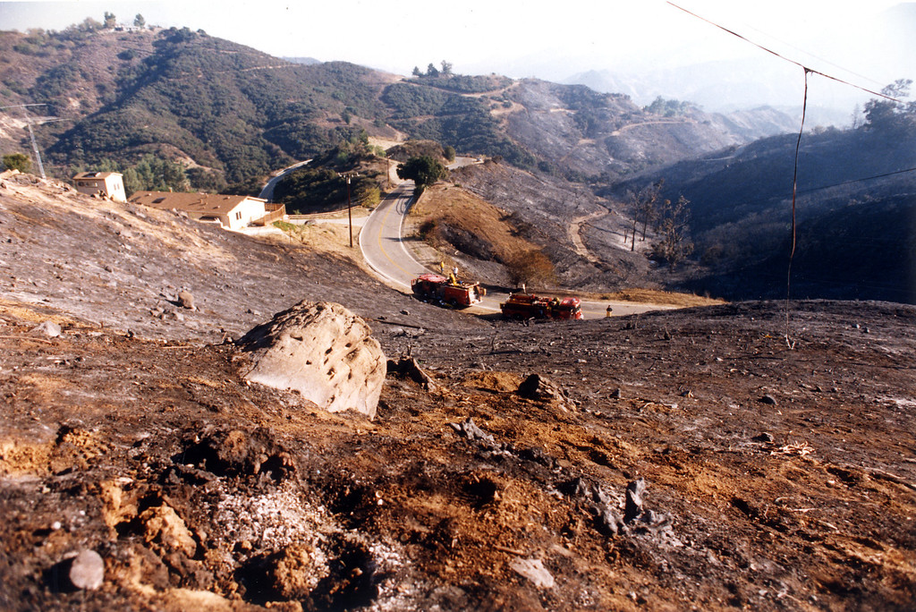 . Investigators say the Old Topanga fire was started in a cluster of rocks, above Old Topanga Canyon Road.   (11/4/93)  Los Angeles Daily News file photo