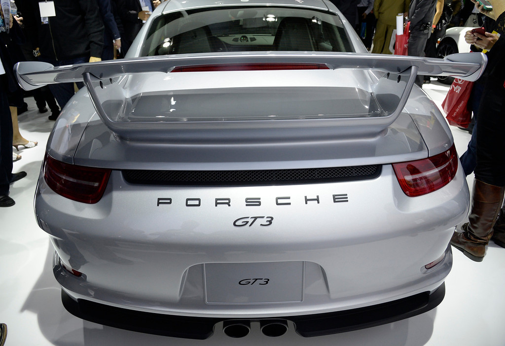 . Nov 20,2013 Los Angeles CA. USA. The new Porsche GT3 with the famous big whale tail on display during the 2013 Los Angeles Auto Show. Photo by Gene Blevins/LA Daily News