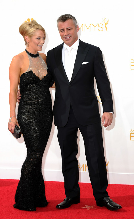 . Andrea Anders and actor Matt LeBlanc on the red carpet at the 66th Primetime Emmy Awards show at the Nokia Theatre in Los Angeles, California on Monday August 25, 2014. (Photo by John McCoy / Los Angeles Daily News)