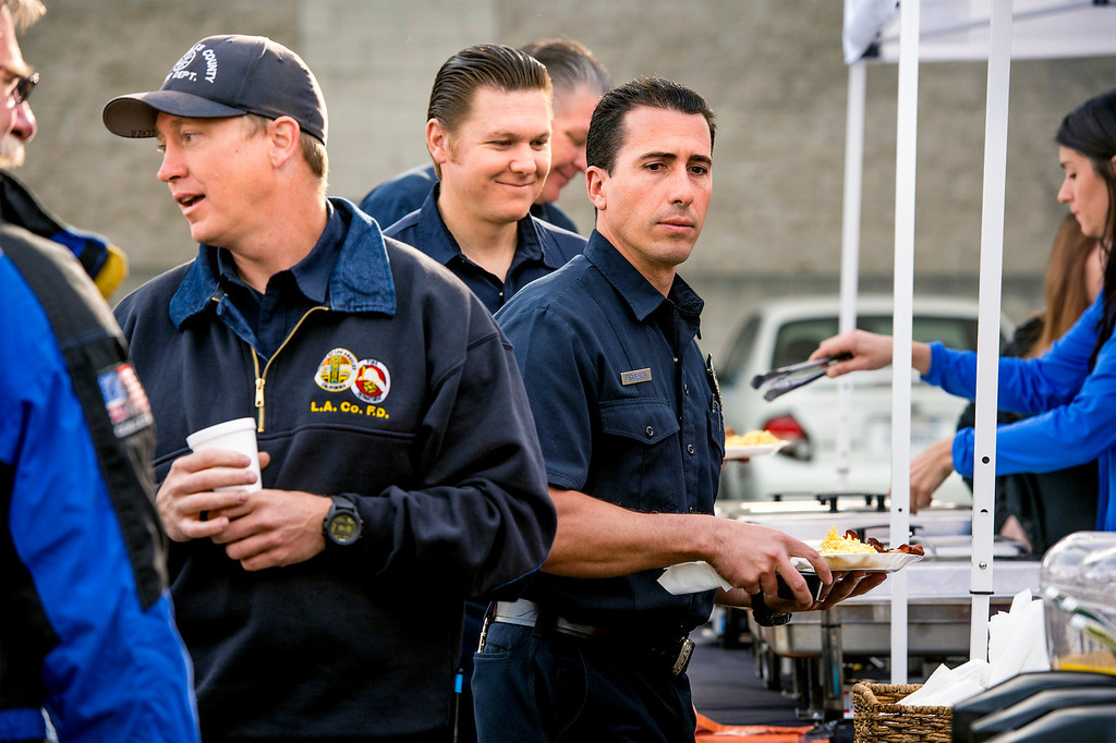 . Foothill Musicians Giving Back along with the Glendora Chamber & Rotary and Clubhouse 66 restaurant serve a pancake breakfast in appreciation to those that fought the Colby Fire in Glendora March 20, 2014.  (Staff photo by Leo Jarzomb/San Gabriel Valley Tribune)