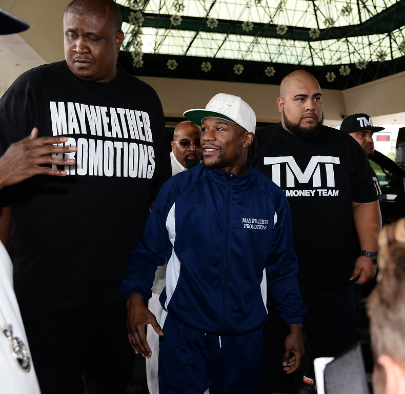. April 30.2013. Las Vegas NV. Floyd Mayweather Jr. arrives at the MGM grand hotel Tuesday afternoon, as he meets the fans and press for his upcoming fight this Saturday night with Robert Guerrero for the WBC Welterweight World Championship. Photo by Gene Blevins/LA DailyNews