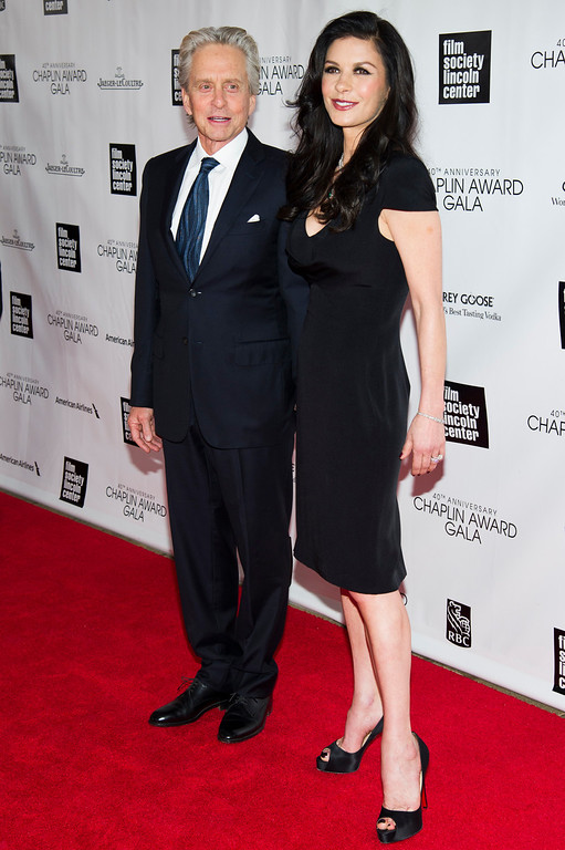 . Michael Douglas and Catherine Zeta Jones attend the Film Society of Lincoln Center�s 40th Annual Chaplin Award Gala honoring Barbra Streisand on Monday, April 22, 2013 in New York. (Photo by Charles Sykes/Invision/AP)