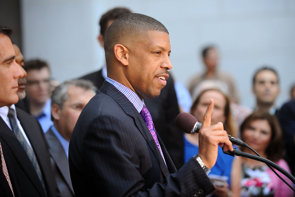 . Sacramento mayor and former NBA player Kevin Johnson speaks during a press conference at Los Angeles city hall regarding NBA Commissioner Adam Silver\'s banning of Donald Sterling for life from any association with the Clippers or the NBA  April 29, 2014.(Andy Holzman/Los Angeles Daily News)
