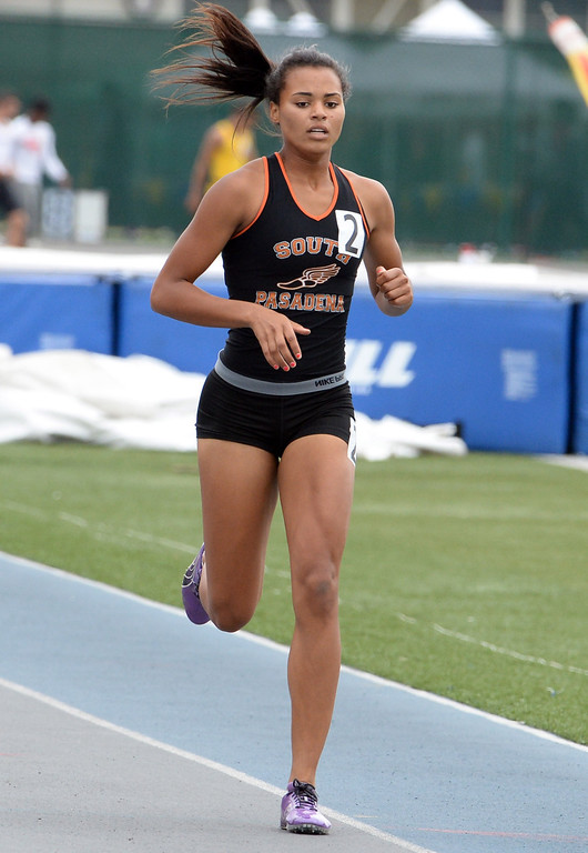 . South Pasadena\'s Jazmin Jackmon competes in the division 3 400 meters race during the CIF Southern Section track and final Championships at Cerritos College in Norwalk, Calif., Saturday, May 24, 2014. 