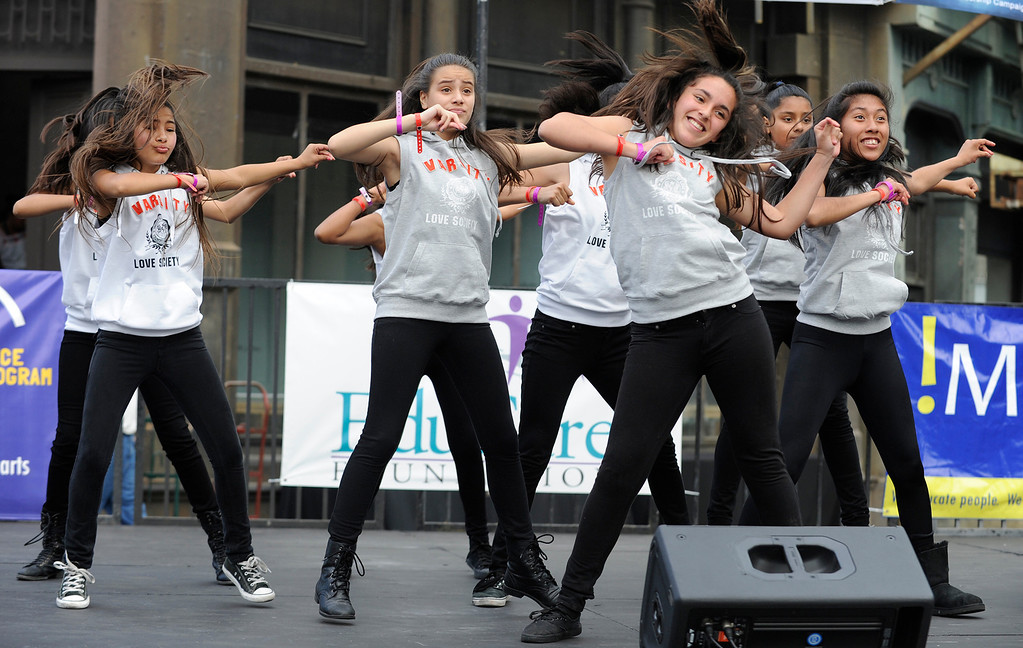 """. Girls from McClay Middle School in Pacoima perform a dance routine.LAUSD\'s program \""""Beyond The Bell,\"""" held a talent show and competition on the Paramount Studios Lot. Stages were set among streets replicating New York City, where kids from 49 Junior High and High Schools danced, sang, played instruments and gave spoken work performances to compete for more than $40,000 in scholarships. Hollywood , CA 5/11/2013(John McCoy/LA Daily News)"""