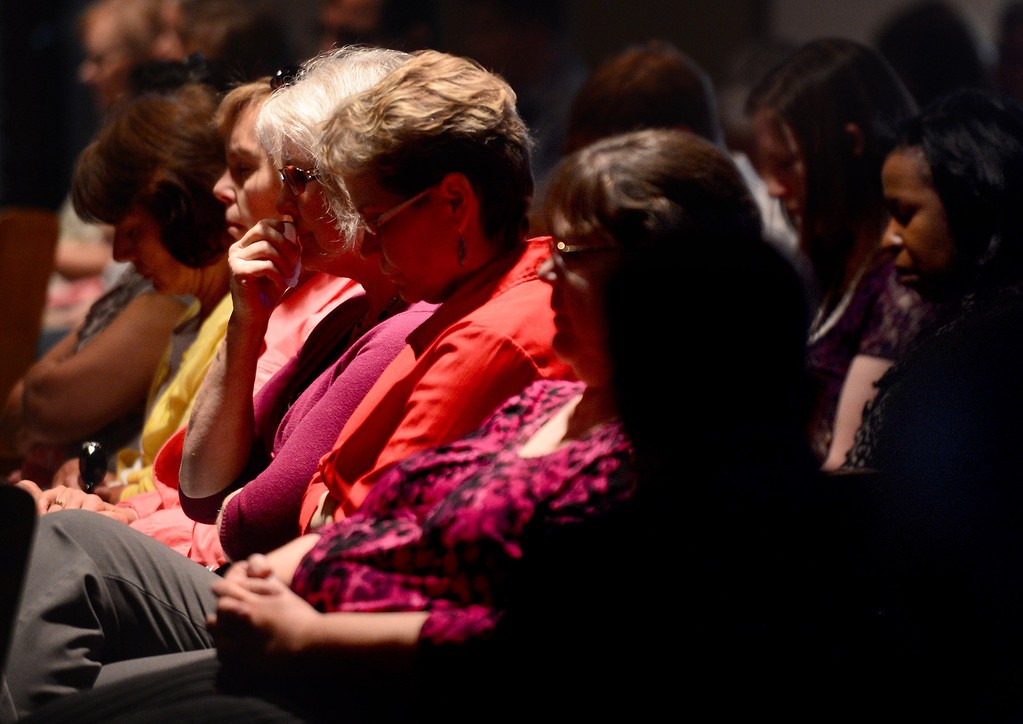 . A memorial is held for April Jace at Biola University\'s Calvary Chapel Tuesday, May 20, 2014 after Los Angeles Police said they arrested actor Michael Jace on suspicion that he shot and killed his wife. April was a financial aid counselor at the La Mirada college. (Photo by Sarah Reingewirtz/Pasadena Star-News)