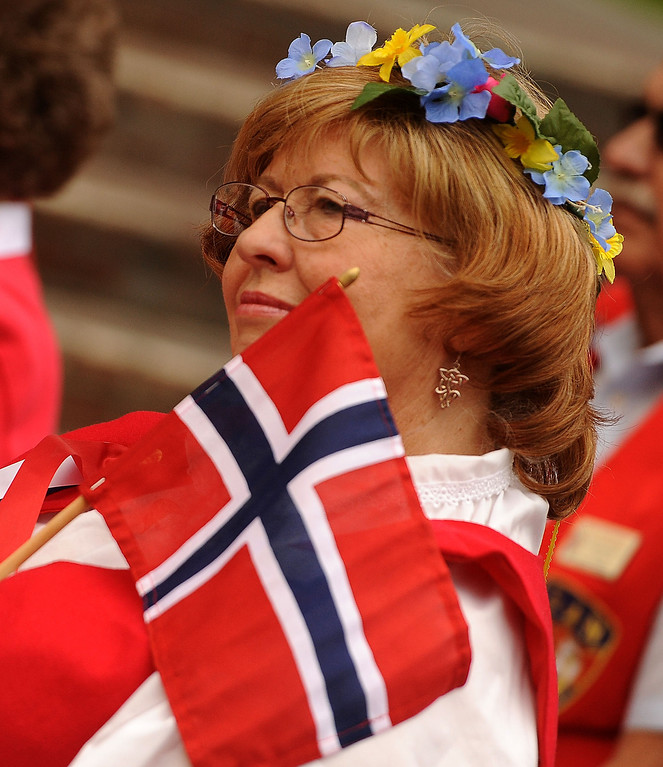 . Diane Griego, of Ontario, wears traditional a Scandanavian outfit during a Norway Constitution Day celebration in downtown San Bernardino May 17, 2013.  GABRIEL LUIS ACOSTA/STAFF PHOTOGRAPHER.