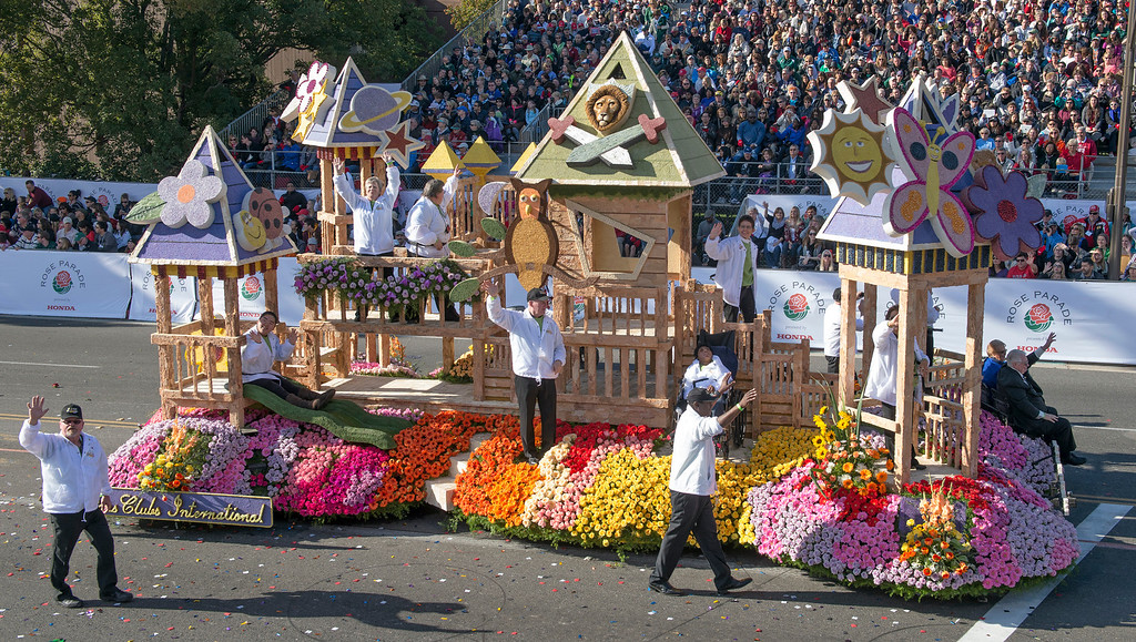 ". Lion\'s Clubs International ""Lions Built Matteo\'s Dream\"" during 2014 Rose Parade in Pasadena, Calif. on January 1, 2014. The float won Tournament Special award for exceptional merit in multiple classifications. (Staff photo by Leo Jarzomb/ Pasadena Star-News)"