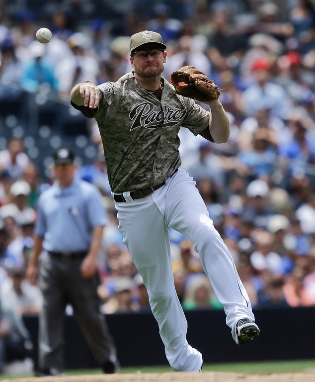 . San Diego Padres third baseman Chase Headley makes the running throw after fielding a slow roller hit by Los Angeles Dodgers\' Yasiel Puig in the fourth inning of a baseball game in San Diego, Sunday, June 23, 2013. The throw was wide but Puig was given a hit on the play. (AP Photo/Lenny Ignelzi)