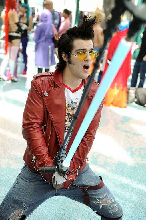 """. Tony Dodge is dressed as \""""Travis Touchdown\"""" at the Anime Expo at the L.A. Convention Center, Saturday, July 6, 2013. (Michael Owen Baker/L.A. Daily News)"""