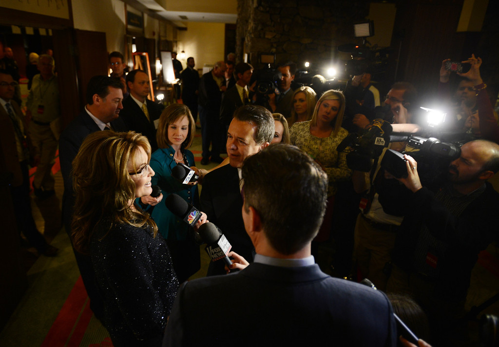 . Former Alaska governor Sarah Palin talks to the media before Billy Graham\'s 95th birthday party at the Grove Park Inn in Asheville, N.C., Thursday Nov. 7, 2013.   (AP Photo/The Asheville Citizen-Times, Erin Brethauer)  no sales