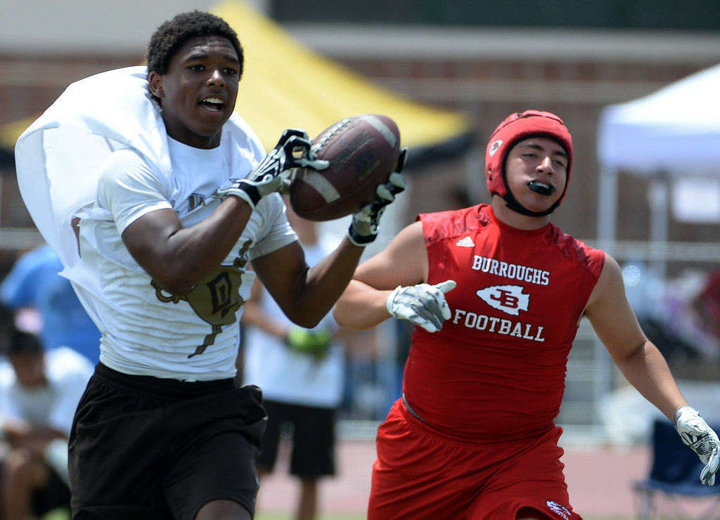 . Don Lugo vs. Burroughs during a passing league game during the Tournament of Champions at Santa Fe High School in Santa Fe Springs, Calif., on Saturday, July 12, 2014.   (Keith Birmingham/Pasadena Star-News)