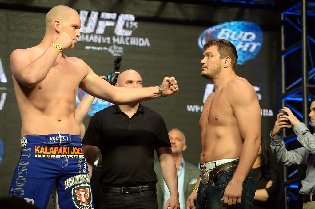 . Stefan Struve and Matt Mitrione during weigh ins for UFC 175 at the Mandalay Bay Events Center July 4, 2014. (Photo by Hans Gutknecht/Los Angeles Daily News)
