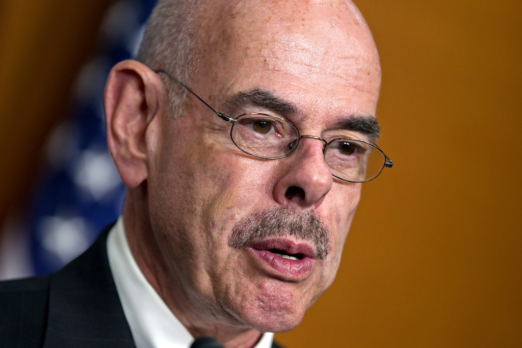 . Rep. Henry A. Waxman, D-Calif., the ranking member of the House Energy and Commerce Committee, charges Republicans with legislative giveaways of American lands and rights, during a news conference on Capitol Hill in Washington, Monday, June 18, 2012. (AP Photo/J. Scott Applewhite)
