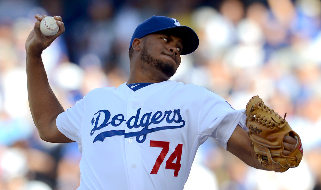 . The Dodgers\' Kenley Jansen delivers a pitch in the 9th inning against the Cardinals in game 5 of the NLCS at Dodger Stadium Wednesday, October 16, 2013.  The Dodgers won the game 6-4.(David Crane/Los Angeles Daily News)