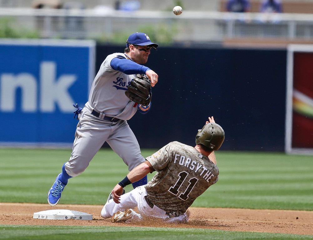 . Los Angeles Dodgers second baseman Nick Punto relays to first over San Diego Padres\' Logan Forsythe while completing a double play in the first inning of a baseball game in San Diego, Sunday, June 23, 2013. (AP Photo/Lenny Ignelzi)