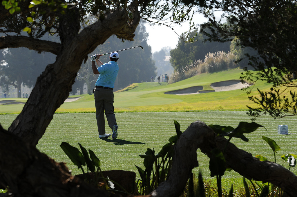 . Johnson Wagner tees off on #4 during the second round of the Northern Trust Open. Pacific Palisades, CA. February 13, 2014 (Photo by John McCoy / Los Angeles Daily News)
