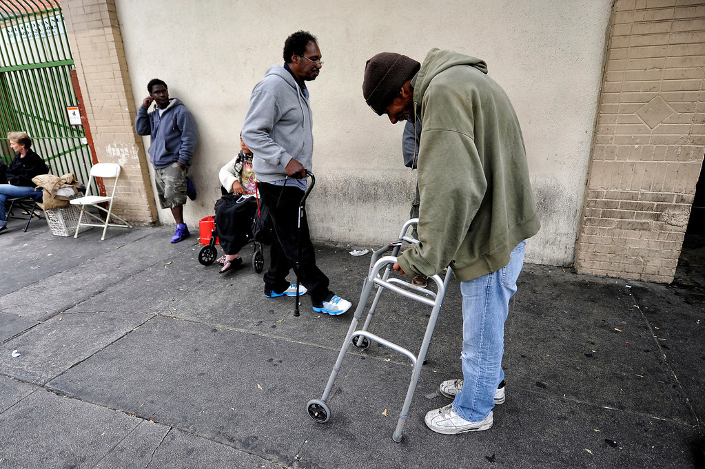 . Phillip Evan, 57-years-old, in the Skid-row area of Los Angeles Wednesday, April 24, 2013. (Hans Gutknecht/Staff Photographer)