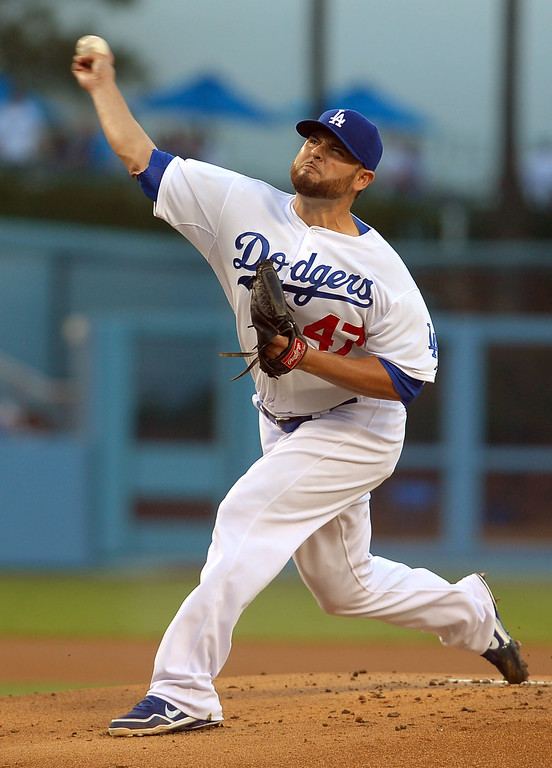 . Dodgers starting pitcher Ricky Nolasco delivers a pitch against the Mets August 12, 2013.  The Dodgers are hosting the Mets for a three game series.(Andy Holzman/Los Angeles Daily News)