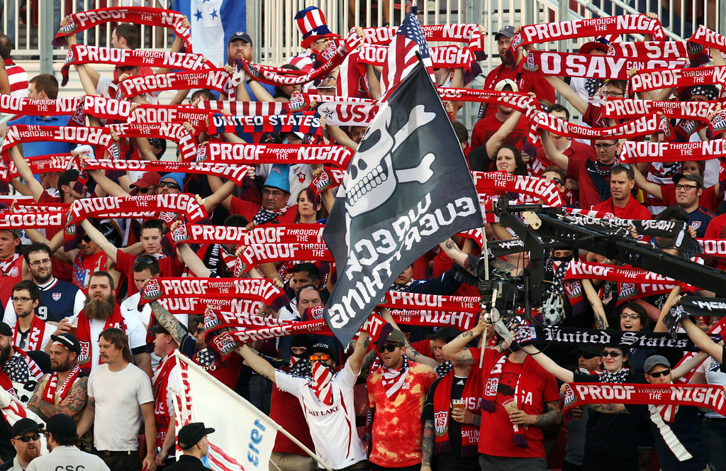 . Fans cheers for the United State\'s national team before a World Cup qualifying soccer match against Honduras at Rio Tinto Stadium on Tuesday, June 18, 2013, in Sandy, Utah. (AP Photo/Rick Bowmer)