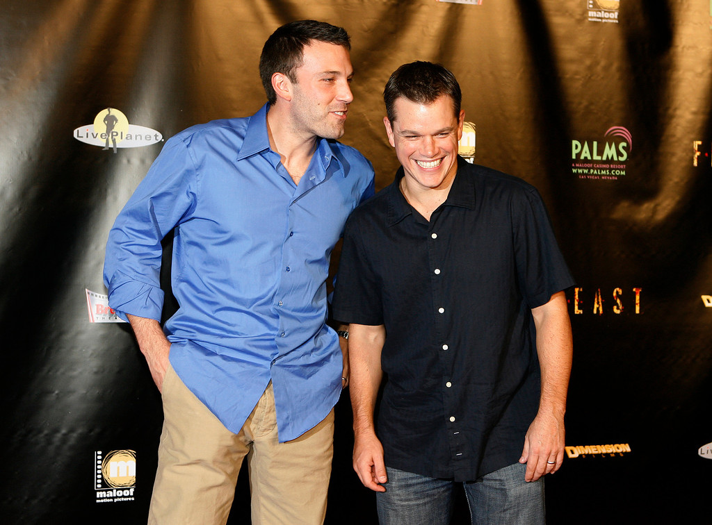 """. Ben Affleck, left, and Matt Damon pose for photos on the red carpet prior to the world premiere of \""""Feast\"""" at the Palms Casino & Hotel in Las Vegas on Tuesday, Sept. 12, 2006. Affleck and Damon are executive producers of the film which was made possible by the duo\'s television show \""""Project Greenlight\"""". (AP Photo/Isaac Brekken)"""