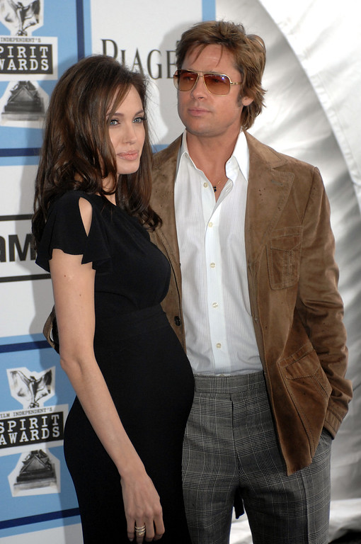 . Angelina Jolie and Brad Pitt arrive at the Spirit Awards in Santa Monica on Saturday, February, 23, 2008. (Michael Owen Baker/L.A. Daily News)