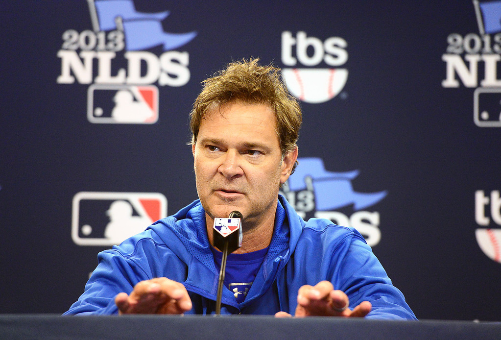 . Los Angeles Dodgers\' Manager Don Mattingly speaks during a press conference Wednesday, October 2, 2013 as his team prepares for the playoffs at Turner Field in Atlanta, Georgia. (Photo by Sarah Reingewirtz/Pasadena Star- News)