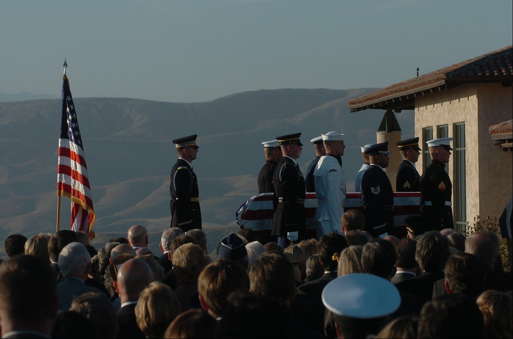 . 6/11/04--Simi Valley--  Military honor guard carries the casket during funeral services for the 40th President at the Ronald Reagan Library in Simi Valley, Ca, Friday, June 11, 2004.    (Los Angeles Daily News file photo)