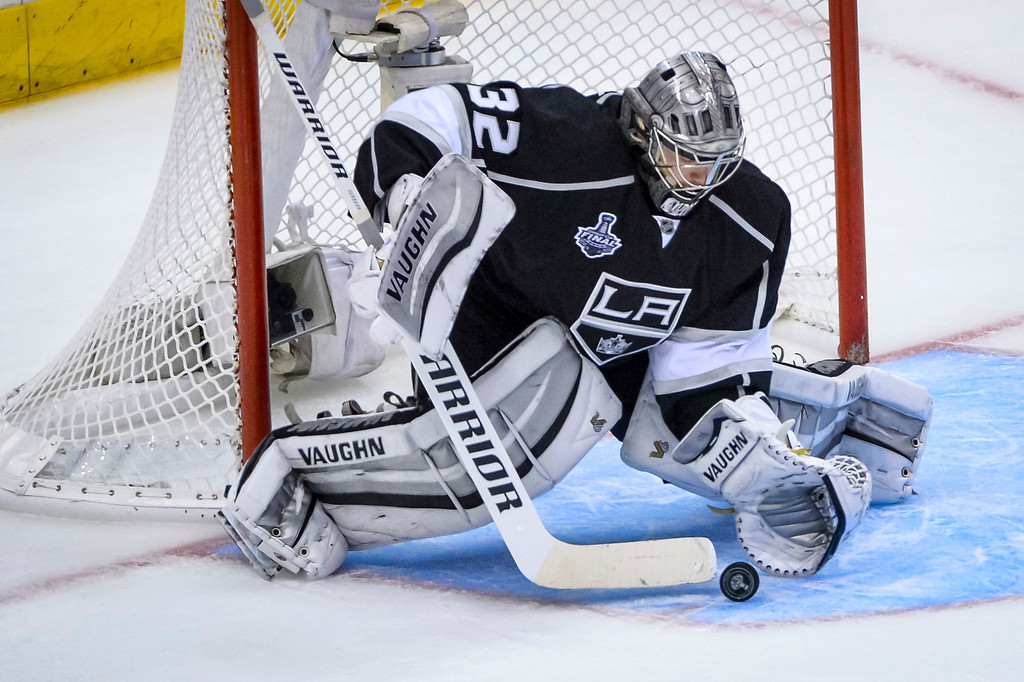 . Kings Jonathan Quick stopped this shot during second period action at Game 1 of the Stanley cup Finals at Staples Center Wednesday, June 4, 2014 ( Photo by David Crane/Los Angeles Daily News )