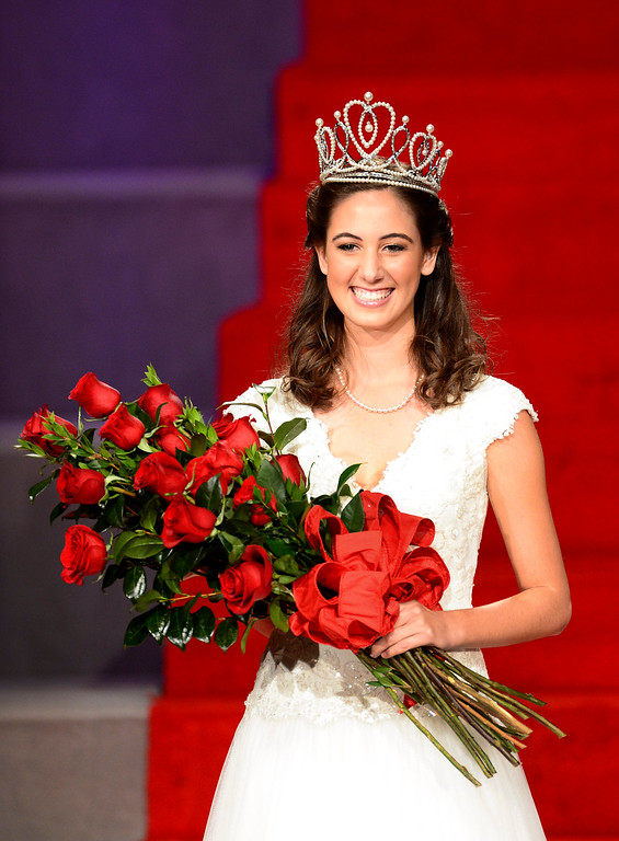 . Ana Acosta is named the 96th Rose Queen during the Tournament of Roses\' coronation ceremony Thursday night, October 24, 2013 at the First Church of the Nazarene of Pasadena. (Photo by Sarah Reingewirtz/Pasadena Star-News)