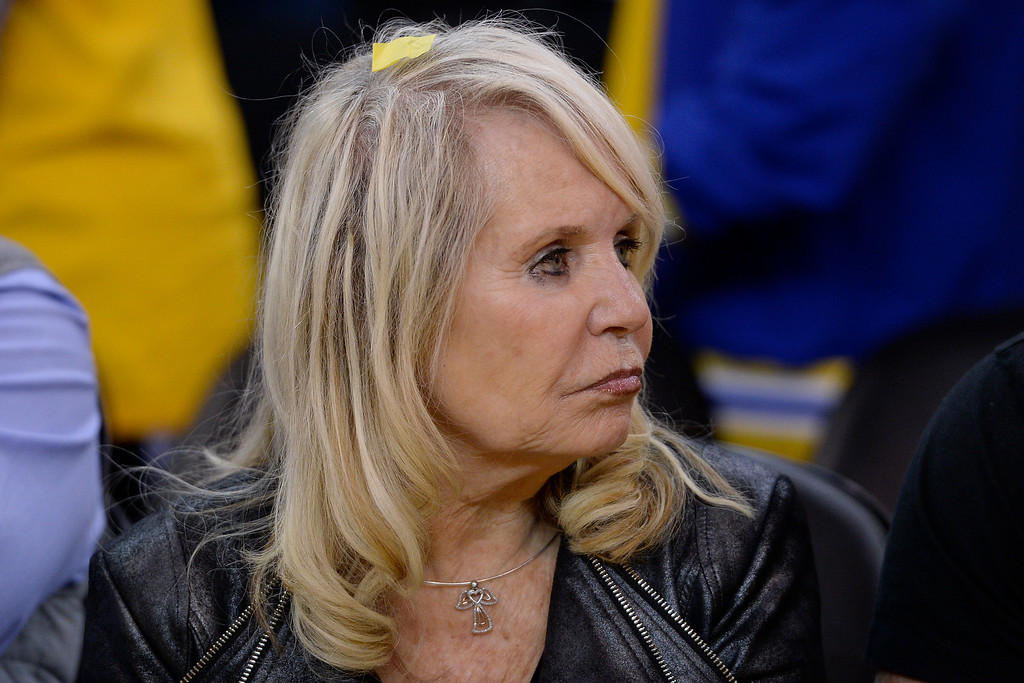 . Rochelle Sterling, wife of Donald Sterling, owner of the Los Angeles Clippers sits on the floor against the Golden State Warriors after Game 4 of their Western Conference NBA playoff at Oracle Arena in Oakland, Calif., on Sunday, April 27, 2014. The Warriors defeated the Clippers 118-97. (Jose Carlos Fajardo/Bay Area News Group)