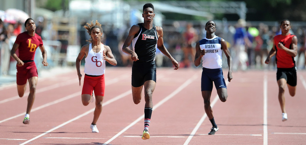 . Etiwanda\'s Miles Parish in the 400 meters race during the CIF-SS track & Field championship finals in Hilmer Stadium on the campus of Mt. San Antonio College on Saturday, May 18, 2013 in Walnut, Calif.  (Keith Birmingham Pasadena Star-News)