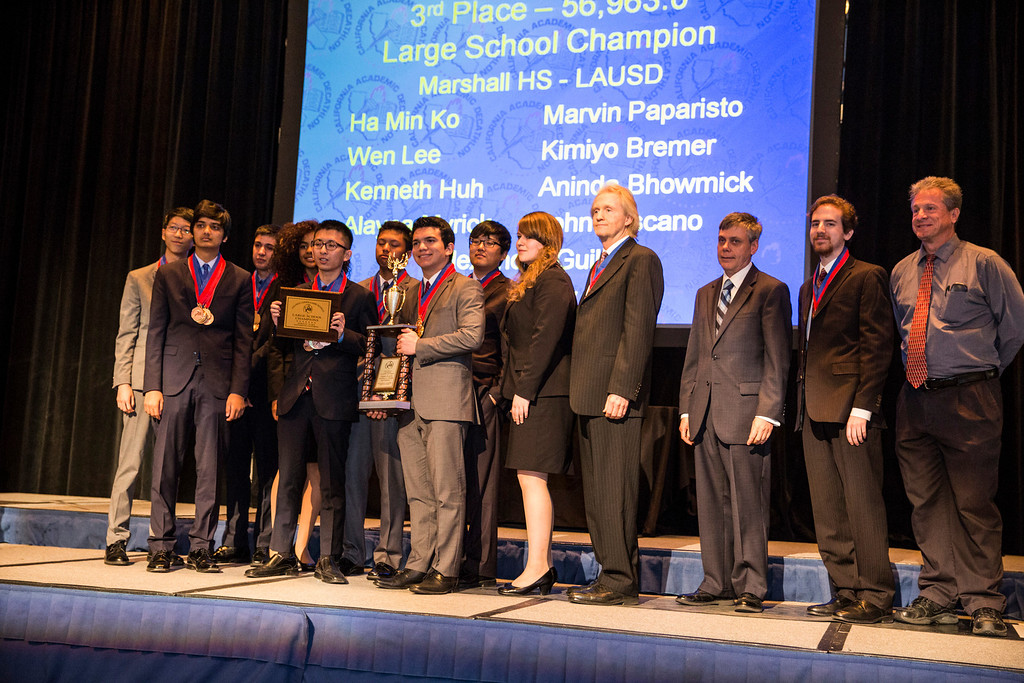 . 3rd Place team of the 35th annual California Academic Decathlon from Marshall High School and (Right) LAUSD�s Academic Decathlon coordinator Cliff Ker, at the 35th annual California Academic Decathlon in Sacramento, California, U.S., on Sunday, March 23 2014. Ken James/LA Daily News
