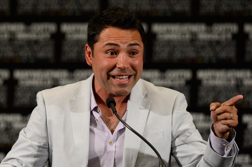 . LAS VEGAS, NV - MAY 05:  President of Golden Boy Promotions Oscar De La Hoya addresses the media after the Floyd Mayweather Jr. and Miguel Cotto fight at the MGM Grand Garden Arena on May 5, 2012 in Las Vegas, Nevada.  (Photo by Ethan Miller/Getty Images)