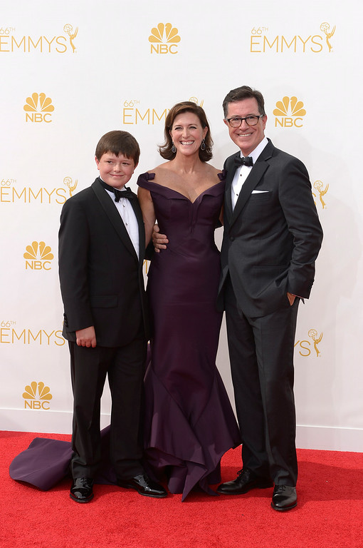 . Stephen Colbert and Evelyn McGee-Colbert on the red carpet at the 66th Primetime Emmy Awards show at the Nokia Theatre in Los Angeles, California on Monday August 25, 2014. (Photo by John McCoy / Los Angeles Daily News)