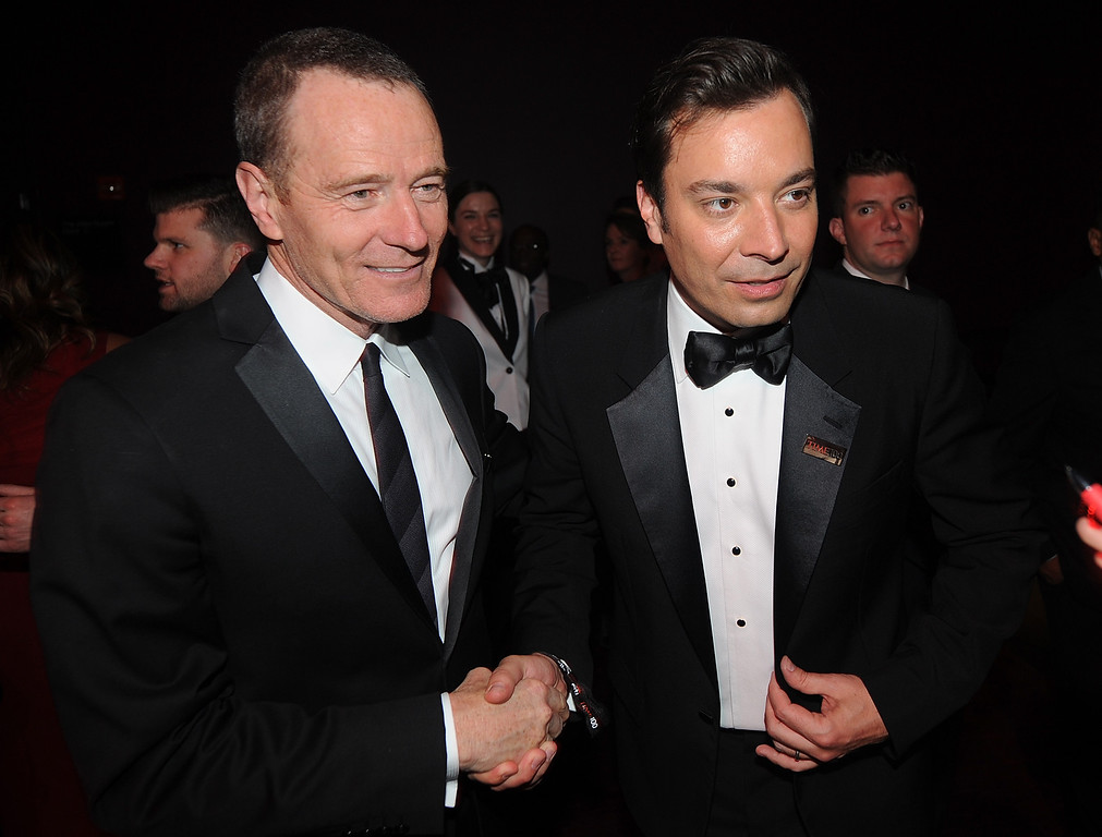 . Bryan Cranston and Jimmy Fallon, attend the TIME\'s 100 Most Influential People in the World Gala on Tuesday, April, 23, 2013 in New York City, New York. (Photo by Brad Barket/Invision for The Hollywood Reporter/AP Images)